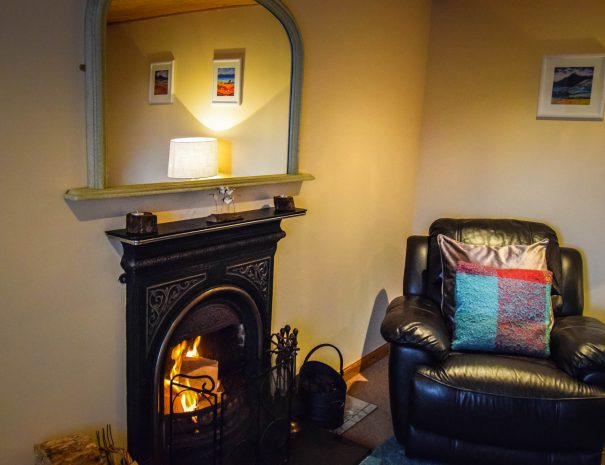 The real log fire at Gables Cottage, near Achiltibuie